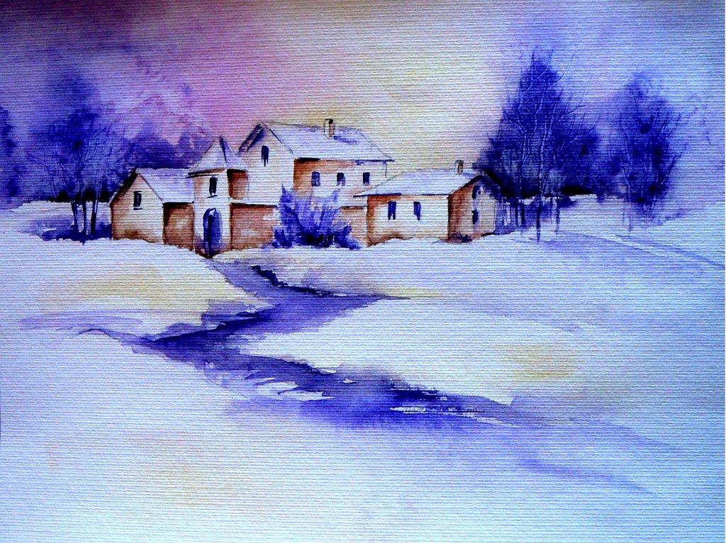 Ferme dans la neige