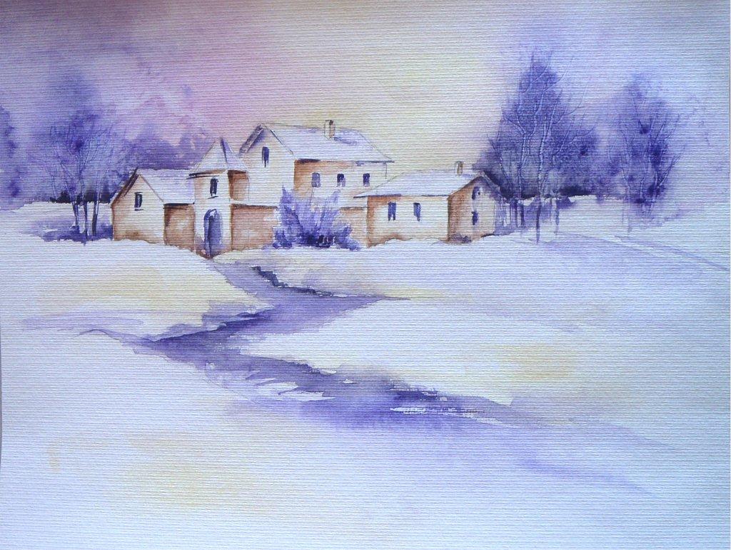 Paysage hivernal mauve