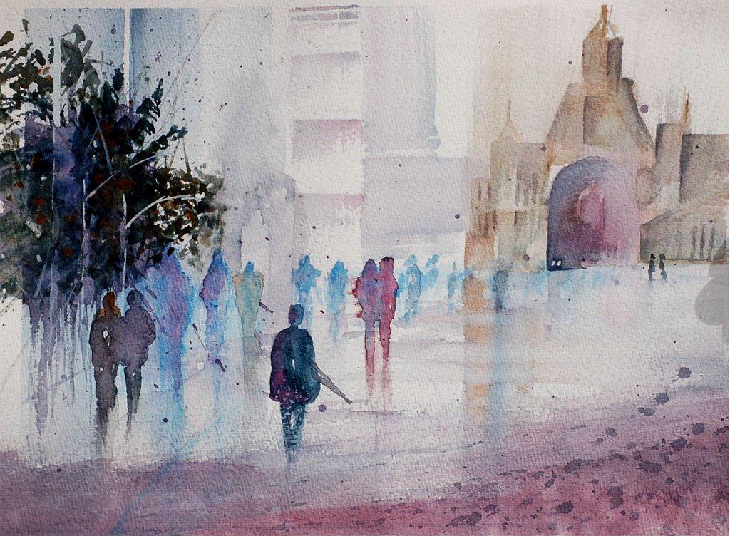 En mouvement sous la pluie