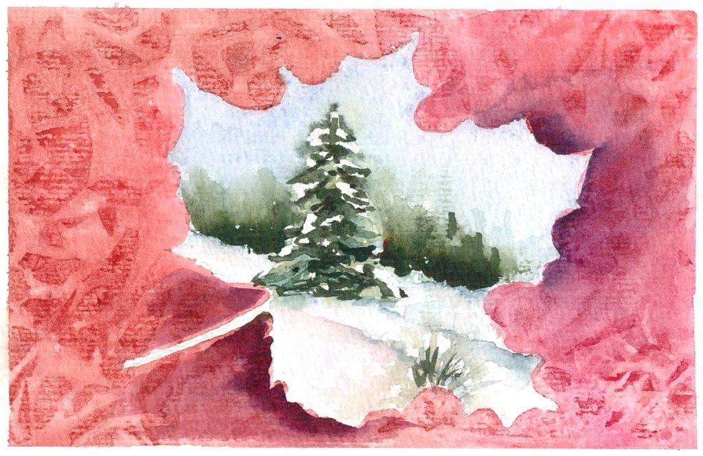 Carte de voeux feuille rouge